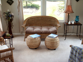 Wicker love seat in living room