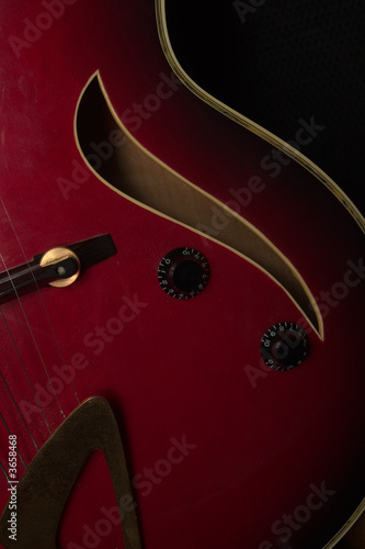 Close up of a jazz guitar