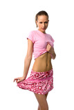 beautiful woman in pink t-shirt and short skirt poster