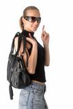 young beautiful woman with black handbag poster