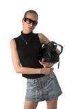 beautiful woman in black t-shirt, short skirt and sunglasses poster