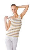 trendy beautiful girl in golden striped t-shirt poster