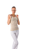 trendy beautiful girl in striped t-shirt and white pants poster