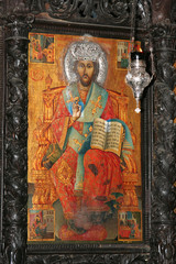 Icon of Jesus in orthodox church of Annunciation in Nazareth