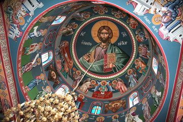 Fresco of Jesus and saints in monastery on Shepherds Field