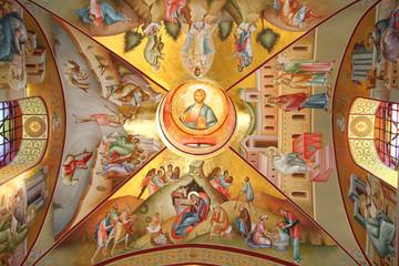 Fresco of Nativity,Epiphany,Transfiguration on Mount Tabor