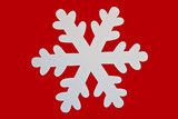 shiny white snowflake closeup on red background poster