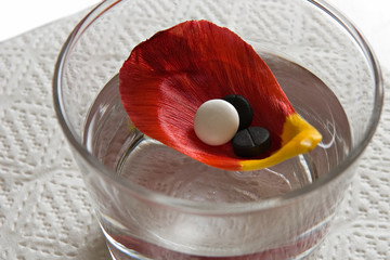 three tablets on petal floating in glass with water