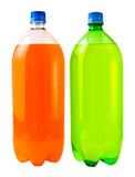 A close up on two soda bottles isolated on a white background poster