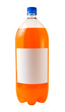 A close up on orange soda isolated on a white background  poster
