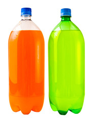 A close up on two soda bottles isolated on a white background