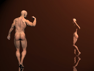 3d illustration, body builder on stage,