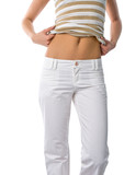 bare belly of girl in white jeans poster