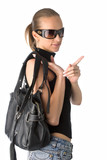 young woman with black leather handbag poster
