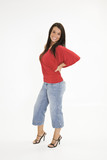 A beautiful young female caucasian wearing an casual outfit.  poster