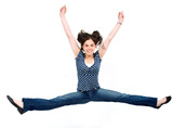 girl jumping of joy over a white background poster