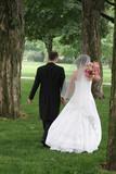 bride and groom walking away tux dress black white poster