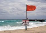 Warning Flag at the Beach (horizontal) poster