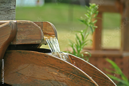 A water wheel water feature