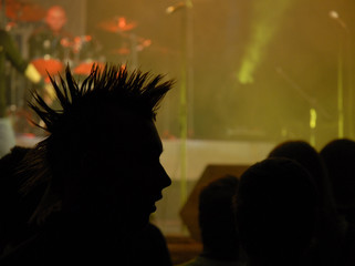 prifile of punk. may be use as background for party cards