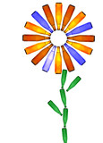 Symbolic flower made from bottles of colorful beverages poster