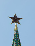 Red star of Spasskaya tower of the Kremlin, Moscow, Russia poster