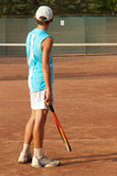 boy on tennis court awaiting the opponent poster