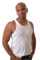 A handsome young african american man in a white t-shirt