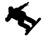 Silhouette of a snowboarder. Sports. Winter. Snow. Extreme. poster