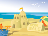 Beautiful sandcastle for sale, at the beach. poster