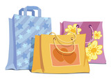 Vector illustration of shopping bags on the sales poster
