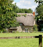 Idyllic Rural Thatched English Cottage poster