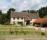 English Manor Farm and Farmyard poster
