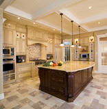 Beige kitchen with a large island poster