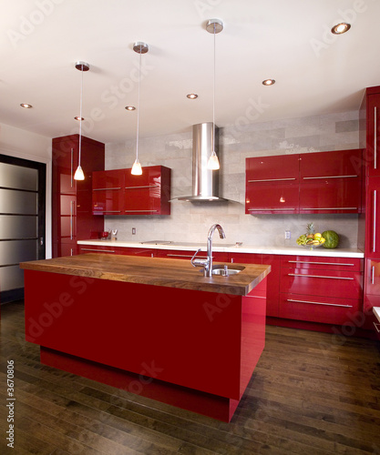 Red modern kitchen with island