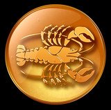 Cancer zodiac button icon poster