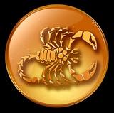 Scorpio zodiac button icon poster