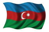 Flag of Azerbaijan waving in the wind poster