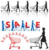 Men & women shoppers push shopping carts. SALE poster