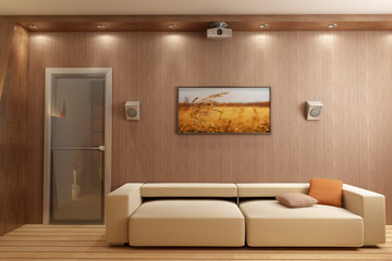 3d rendering interior with home theatre
