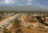 Traffic jam in California Highway System poster