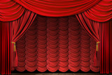 Old fashioned, elegant theater stage with velvet curtains. poster