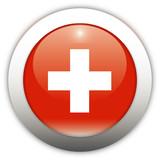 Switzerland Flag Aqua Button poster