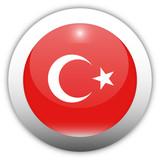 Turkey Flag Aqua Button poster