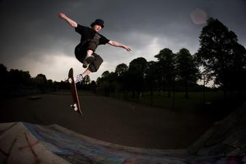 skateboarder bail over the hip