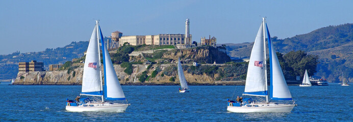 panoramic view of alcatraz in san francisco bay