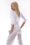 pretty russian woman wearing white outfit on white background poster