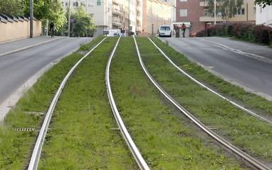 Tram track.