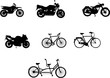 motorbikes and bicycles silhouettes