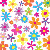 Multicolored retro styled flowers